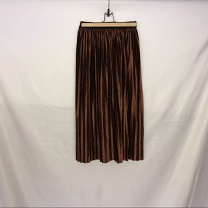 Brown Velvet Pleated Midi Skirt